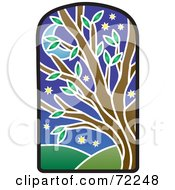 Royalty Free RF Clipart Illustration Of A Stained Glass Tree At Night by Rosie Piter