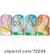 Royalty Free RF Clipart Illustration Of A Digital Collage Of Stained Glass Trees by Rosie Piter