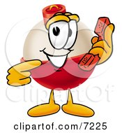 Clipart Picture Of A Fishing Bobber Mascot Cartoon Character Holding A Telephone by Toons4Biz