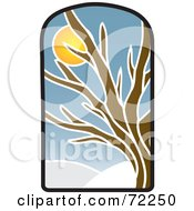 Royalty Free RF Clipart Illustration Of A Stained Glass Winter Tree by Rosie Piter