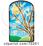 Royalty Free RF Clipart Illustration Of A Stained Glass Summer Tree by Rosie Piter