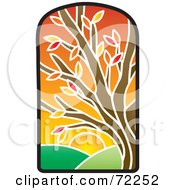 Royalty Free RF Clipart Illustration Of A Stained Glass Autumn Tree by Rosie Piter