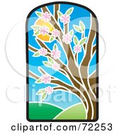 Royalty Free RF Clipart Illustration Of A Stained Glass Spring Tree by Rosie Piter
