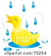 Royalty Free RF Clipart Illustration Of A Yellow Duck Playing In A Puddle On A Rainy Day