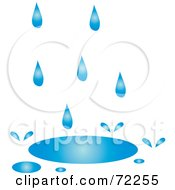Royalty Free RF Clipart Illustration Of Blue Rain Filling Up A Puddle