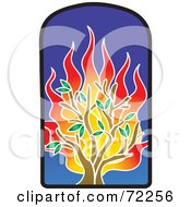 Royalty Free RF Clipart Illustration Of A Flaming Tree Stained Glass Window by Rosie Piter