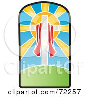 Royalty Free RF Clipart Illustration Of A Red Cloth Draped Around A Cross In Front Of The Sun On A Stained Glass Window