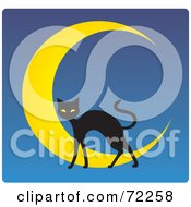 Black Cat And Crescent Moon On Blue