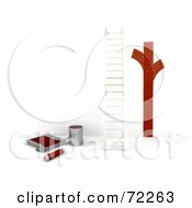 Royalty Free RF Clipart Illustration Of Streaks Of Red Paint On A White Wall Near A Ladder And Painting Supplies by KJ Pargeter