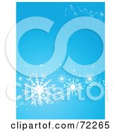 Royalty Free RF Clipart Illustration Of A Blue Christmas Background With Large White Snowflakes