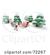 Royalty Free RF Clipart Illustration Of A 3d Santa Carrying A Stack Of Leaning Presents Through The Woods By His Sleigh