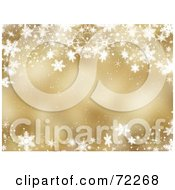 Royalty Free RF Clipart Illustration Of A Golden Christmas Background With Flowing Snowflake Waves