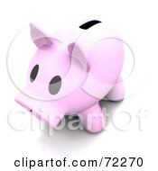 Royalty Free RF Clipart Illustration Of A 3d Pale Pink Piggy Bank With A Wide Slot