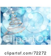 Royalty Free RF Clipart Illustration Of A Blue Sparkly Background With A 3d Silver Spiral Christmas Tree by KJ Pargeter