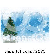 Blue Background With White Snowflakes And A 3d Christmas Tree