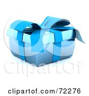 Royalty Free RF Clipart Illustration Of A Squat Blue 3d Gift Box With Ribbons And A Bow