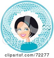 Royalty Free RF Clipart Illustration Of A Pretty Aquarius Woman In A Blue Circle With The Zodiac Symbol