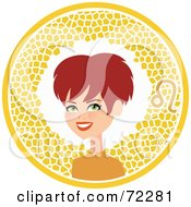 Pretty Leo Woman In A Yellow Circle With The Zodiac Symbol