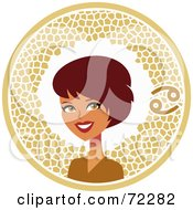 Royalty Free RF Clipart Illustration Of A Pretty Cancer Woman In A Brown Circle With The Zodiac Symbol