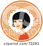 Royalty Free RF Clipart Illustration Of A Pretty Gemini Woman In An Orange Circle With The Zodiac Symbol