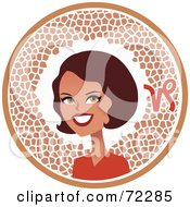 Royalty Free RF Clipart Illustration Of A Pretty Capricorn Woman In A Brown Circle With The Zodiac Symbol by Monica