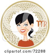 Royalty Free RF Clipart Illustration Of A Pretty Virgo Woman In A Beige Circle With The Zodiac Symbol