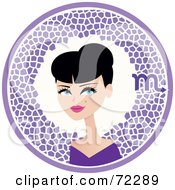 Royalty Free RF Clipart Illustration Of A Pretty Scorpio Woman In A Purple Circle With The Zodiac Symbol by Monica
