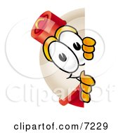 Clipart Picture Of A Fishing Bobber Mascot Cartoon Character Peeking Around A Corner by Toons4Biz