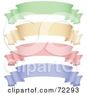 Royalty Free RF Clipart Illustration Of A Digital Collage Of Green Beige Pink And Purple Scroll Banners