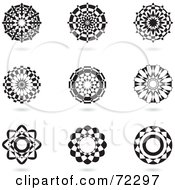 Royalty Free RF Clipart Illustration Of A Digital Collage Of Black And White Floral Logo Icons by cidepix