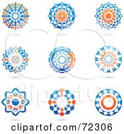 Royalty Free RF Clipart Illustration Of A Digital Collage Of Orange And Blue Icon Logos Version 2 by cidepix