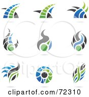 Royalty Free RF Clipart Illustration Of A Digital Collage Of Blue Green And Gray Logo Icons Version 2 by cidepix