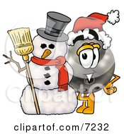 Clipart Picture Of A Bowling Ball Mascot Cartoon Character With A Snowman On Christmas