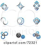 Royalty Free RF Clipart Illustration Of A Digital Collage Of Blue And Black 3d Cog Logo Icons