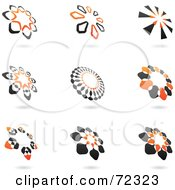 Royalty Free RF Clipart Illustration Of A Digital Collage Of Black And Orange Floral Logo Icons by cidepix