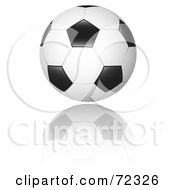 Royalty Free RF Clipart Illustration Of A New Black And White Soccer Ball With A Reflection by cidepix