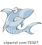 Royalty Free RF Clipart Illustration Of A Grumpy Blue Shark by cidepix
