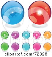 Royalty Free RF Clipart Illustration Of A Digital Collage Of Reflective Colorful Summer And Winter Orbs by cidepix
