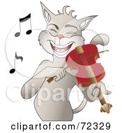 Royalty Free RF Clip Art Illustration Of A Happy Cat Singing And Playing A Fiddle