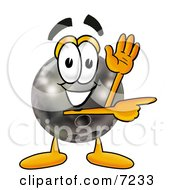 Clipart Picture Of A Bowling Ball Mascot Cartoon Character Waving And Pointing