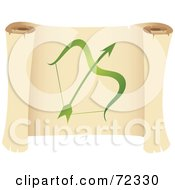 Royalty Free RF Clipart Illustration Of A Green Sagittarius Icon On A Parchment Scroll by cidepix