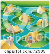 Royalty-Free (RF) Clipart Illustration of a Village With Cute Cottages On Islands by cidepix #COLLC72335-0145