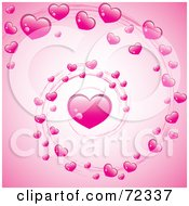Royalty Free RF Clipart Illustration Of A Valentine Swirl Of Pink Hearts Over Pink by cidepix