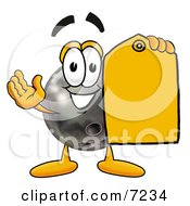 Clipart Picture Of A Bowling Ball Mascot Cartoon Character Holding A Yellow Sales Price Tag
