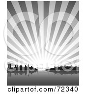 Royalty Free RF Clipart Illustration Of A Gray Burst Behind The Istanbul Turkey Skyline by cidepix