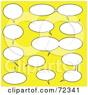 Royalty Free RF Clipart Illustration Of A Yellow Background With Communicating Chat Windows by cidepix
