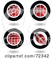 Royalty Free RF Clipart Illustration Of A Digital Collage Of Red And Black Ball Icons Soccer Basketball Volleyball And Football by cidepix
