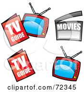 Royalty Free RF Clipart Illustration Of A Digital Collage Of Television Guides And Televisions by cidepix