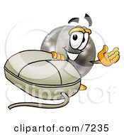 Clipart Picture Of A Bowling Ball Mascot Cartoon Character With A Computer Mouse