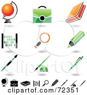 Digital Collage Of Orange And Green School Items
